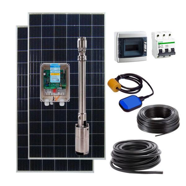 kit bombeo solar para pozo hasta 60m con placas solares y bomba lorentz